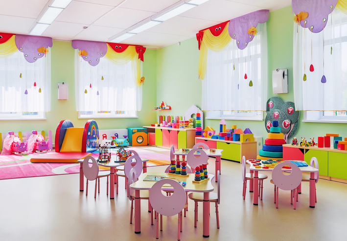 The pink room for games and learning in kindergarten.
